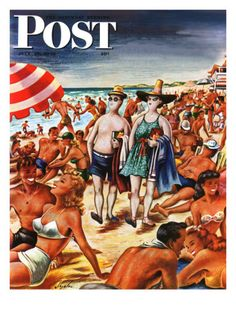 """Palefaces at the Beach,"" Saturday Evening Post Cover, July 27, 1946 Giclee Print by Constantin Alajalov at AllPosters.com"