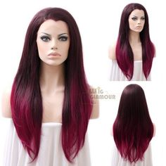 "Long Straight 24"" Dark Brown Mixed Burgundy Lace Front Wig Heat Resistant #Wigglamour #FullWig"