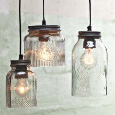 Deckenleuchte im Impressionen Online Shop -glass jar pendants Mason Jar Lighting, Mason Jar Lamp, Diy Pendant Light, Pendant Lighting, Pendant Lamps, Kitchen Lighting Fixtures, Light Fixtures, Bathroom Lighting, Jar Lights