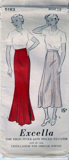 Vintage 1930s Excella 5183 SKIRT Slim by vintagepatternstore