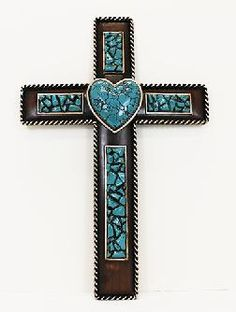 The beautiful resin Turquoise Heart Wall Cross adds a distinctive western look to your wall. Mosaic Crosses, Wooden Crosses, Crosses Decor, Wall Crosses, Decorative Crosses, Cross Love, Cross Heart, Sign Of The Cross, Old Rugged Cross