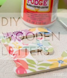How to make scrapbook paper wooden letters, diy wooden letters