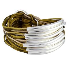 Gillian Julius Mixed Cord Multi Tube Bracelet, Silver | Khaki Mix Cord. Multi strand bracelet consisting of 20 waxed cotton cords that fade in and out of the khaki color spectrum. Each cord of bracelet features a silver tube. $298