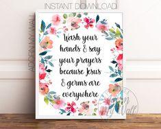 Bathroom Printable, Wash Your Hands And Say Your Prayers, Bathroom Wall Art, Bathroom Print, Bathroom Signs, Bathroom Quote, Bathroom Decor