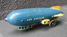 """ANTIQUE Vintage 11"""" Toy Cast Iron Kenton Los Angeles Blimp Zeppelin"""