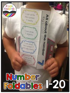 Foldables for Numbers 1-20 ---- Great practice for writing numbers & number words, tallying, drawing objects, and showing numbers on a ten frame! $