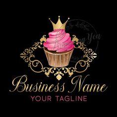 Logo Cupcake, Cupcake Rose, Cupcake Bakery, Bakery Cakes, Crown Cupcakes, Gold Cupcakes, Glitter Cupcakes, Cake Logo Design, Custom Logo Design