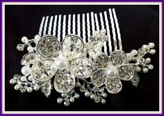 Silver Tone Bridal Hair Comb with Design of Flowers Decorated with Pearls and Crystals. - Crystal Dreams