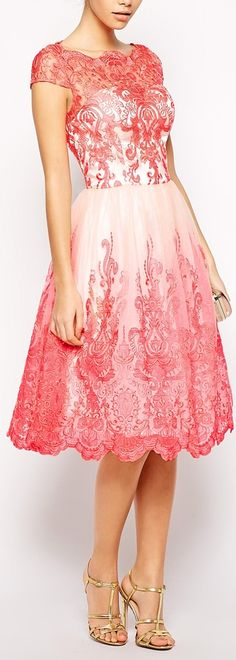Vintage inspired pink Lacey dress and dainty gold heels