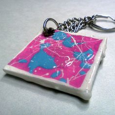 Pink, Blue and White Splatter are Keychain Pink Blue, Blue And White, Splatter Art, Etsy Store, Personalized Items