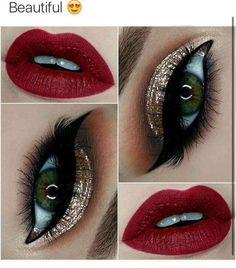 Gold Glitter Eyes + Red Lips Make - up 43 Christmas Makeup Ideas to Copy This Season Eye Makeup Tips, Makeup Goals, Eyeshadow Makeup, Makeup Inspo, Lip Makeup, Makeup Inspiration, Makeup Ideas, Makeup Tutorials, Makeup Geek