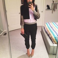 Phillip Lim sequins + Topshop faux leather pants for the weekend