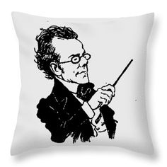 Gustav Mahler Throw Pillow featuring the mixed media Gustav Mahler 2a by Otis Porritt