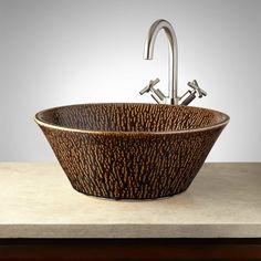 Lapeer Hand-Glazed Pottery Vessel Sink - Mottled Chocolate