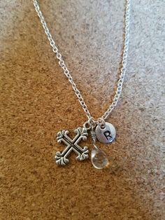 Birthstone April diamond crystal cross necklace cross birthstone diamond…
