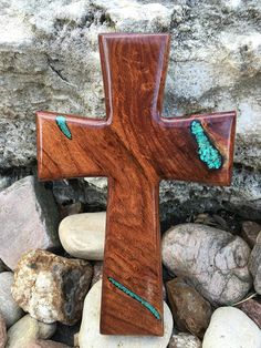 Wooden Mesquite Cross with Turquoise Inlay