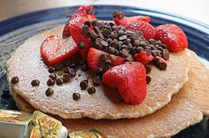 Chocolate chip pancakes with strawberries - heaven!