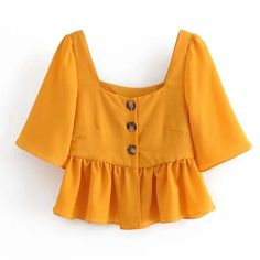 Square collar vintage buttoned pleated shirt doll shirt top from FE CLOTHING Cute Summer Outfits, Cool Outfits, Fashion Outfits, Pleated Shirt, Everyday Dresses, Fes, Cute Shirts, Corsage, Blouse Designs