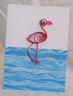 Quilled Flamingo Card - from Kate's Paper Crafts.  Find me on Facebook and Etsy!