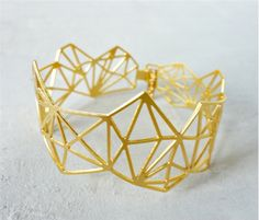 Beautiful gold Geometric Diamond Cuff
