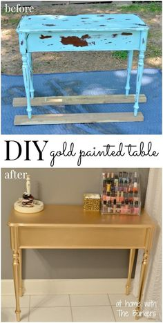 DIY Gold Painted Table. I didn't think I'd like this makeover but I was wrong...I love it! Tutorial by At Home with the Barkers.