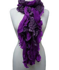 Take a look at this Purple Leopard Ruffle Scarf by The Alabama Girl on #zulily today! $10 !!