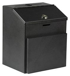 Displays2go Suggestion Box With Lock For Wall Mount Or Tabletop Use, Locking Hinged Lid, Pocket For Donation Forms Or Envelopes - Black (Stboxblk), 2015 Amazon Top Rated Mail & Suggestion Boxes #OfficeProduct