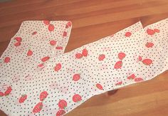 New Red Black & White Strawberries & Hearts Long Chiffon Neck or Headband Scarf #Unbranded #Scarf