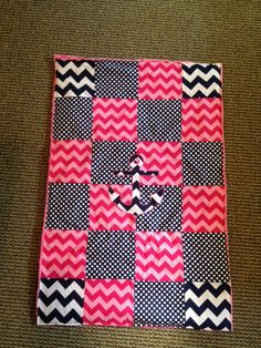 Anchor Baby Blanket Hot Pink and Navy Chevron by SewSweetByTrisha, $35.00