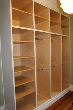 Custom Closet Organizer separate sections could have different level rods for different types of clothes and accessories. Lots of shelves :-) Closet Redo, Bedroom Closet Design, Build A Closet, Closet Remodel, Master Bedroom Closet, Closet Designs, Walk In Closet, Wardrobe Closet, Closet Space