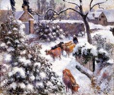 The Athenaeum - The Effect of Snow at Montfoucault (Camille Pissarro - )