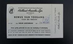 Toegangsbewijs ss Nieuw Amsterdam 1 mei 1953 in Rotterdam