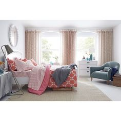 Coral and grey plus sheer curtains (Genevieve Bed Linens in All Decorative Bedding | Crate and Barrel)