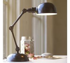 Harrison Bedside Lamp #potterybarn - Like the style and shape but not the color - need brushed nickel or chrome - nothing shiny
