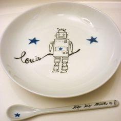 """Assiette enfant personnalisée """"Robot"""""""