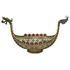 Norwegian Enamel & Sterling Viking Ship by David Andersen   From a unique collection of antique and modern decorative objects at http://www.1stdibs.com/furniture/more-furniture-collectibles/decorative-objects/