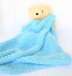 Crochet baby blanket turquoise blue soft afghan infant crib bedding fluffy newborn shower gift photo
