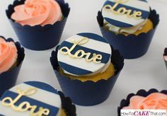 Navy and Gold Wedding Cupcakes by Otchcakes - http://cakesdecor.com/cakes/274595-navy-and-gold-wedding-cupcakes