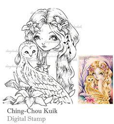 Little Talks  Digital Stamp Instant Download / Bird Owl by gjzcck