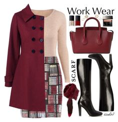 """""""Work Wear: Winter Scarf"""" by beebeely-look ❤ liked on Polyvore featuring Yves Saint Laurent, GUESS, Bally, NARS Cosmetics, Burberry, Lilly e Violetta, WorkWear, scarf, coat and sammydress"""