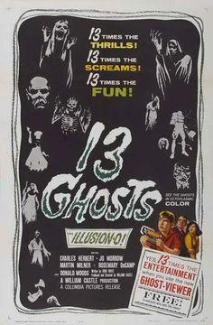 Los Trece Fantasmas Fantasmas) Ghost) призраков) (Tretten Spøgelser) (Thirteen Ghosts) (Ta 13 Fantasmata) (Das Unheimliche Erbe) (I 13 Fantasmi) Kummitusta) Spøgelser) Spöken) (William Castle, EEUU, Horror Movie Posters, Movie Poster Art, Horror Films, Horror Art, Club Poster, Horror Comics, Film Logo, Ghost Movies, Scary Movies