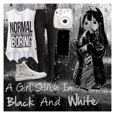 """""""A Girl Stuck In Black And White///story in comments///My OC"""" by lyonserenity ❤ liked on Polyvore featuring H&M, Dirtee Hollywood, Converse and Fujifilm"""