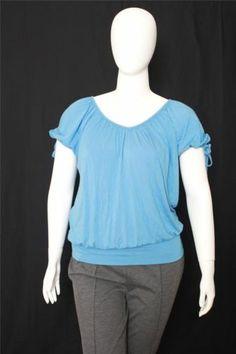 New Karen Kane Blue Short Sleeves Scoop Neck Knit Top Size 3X