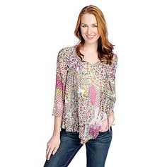 d6c551a18f7 726-691 - One World Printed Woven 3/4 Bell Sleeve Pointed Hem Peasant