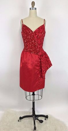 Vintage 80s MIKE BENET formal Dress Cherry Red Sequin Satin Ruffle Prom Party M #MikeBenet #Formal #Formal