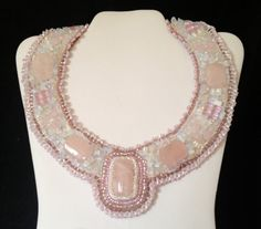 Bead Embroidered Collar Pink Quartz by bjswearableart on Etsy, $135.00