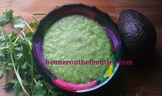 Uncooked Tomatillo and Avocado Salsa, by beaneronthefrontier.com