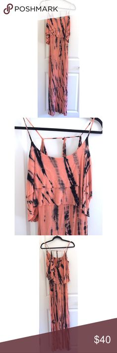 Tie Dye Maxi Dress Adjustable straps in the back. JESSE & J Dresses Maxi