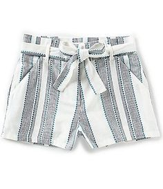 554d4357913a GB Girls Big Girls 7-16 Striped Paperbag Waist Tie-Front Shorts Kids Girls