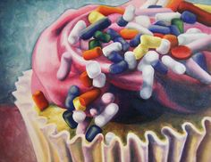 Becky Hernandez (BFA Painting) paints contemporary still life. Juan Sanchez Cotan, Sweets Art, Food Painting, Paintings Of Food, Realistic Oil Painting, Close Up Art, Monster Cupcakes, Observational Drawing, Food Artists